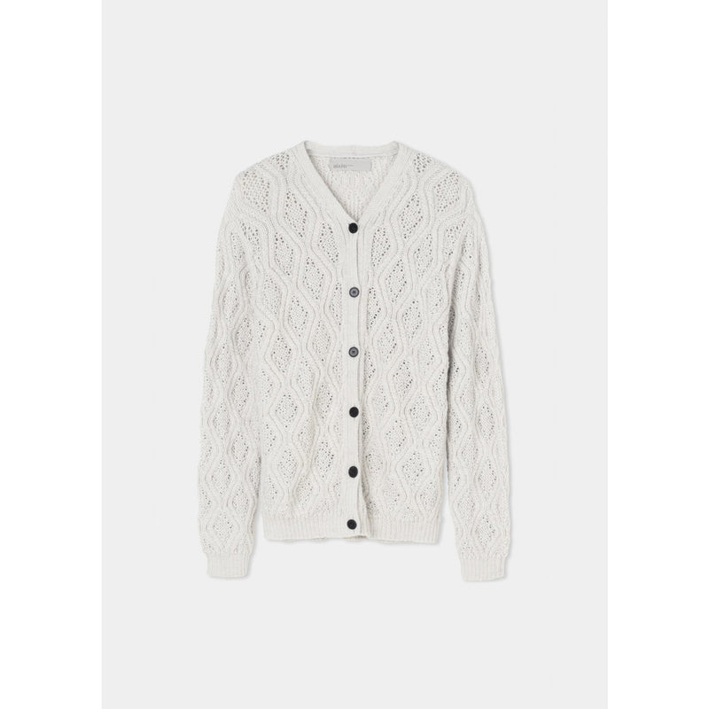 white knit cardigan with buttons up the front by designer aiayu
