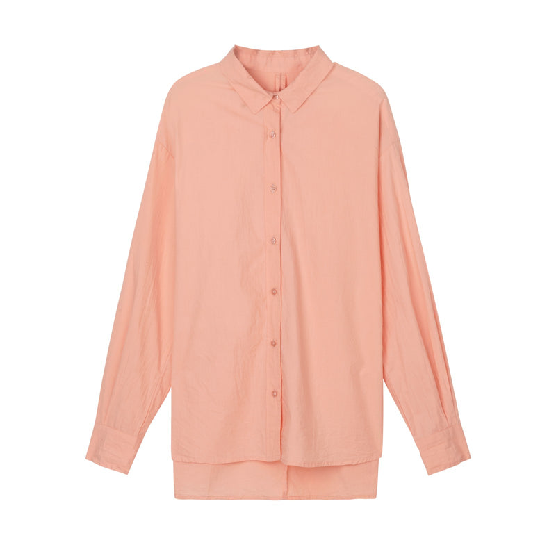 organic cotton button up in coral by designer aiayu