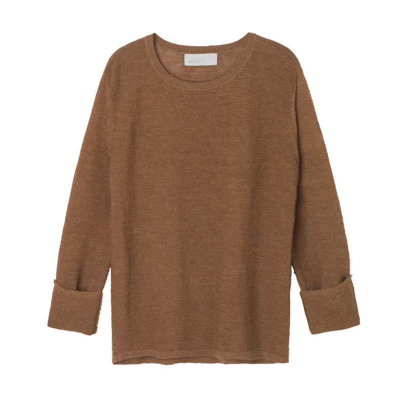 brown pullover knit sweater with sleeves folded by designer aiayu