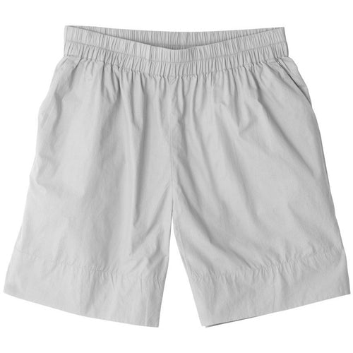 long grey organic cotton shorts with elastic waistband by designer aiayu