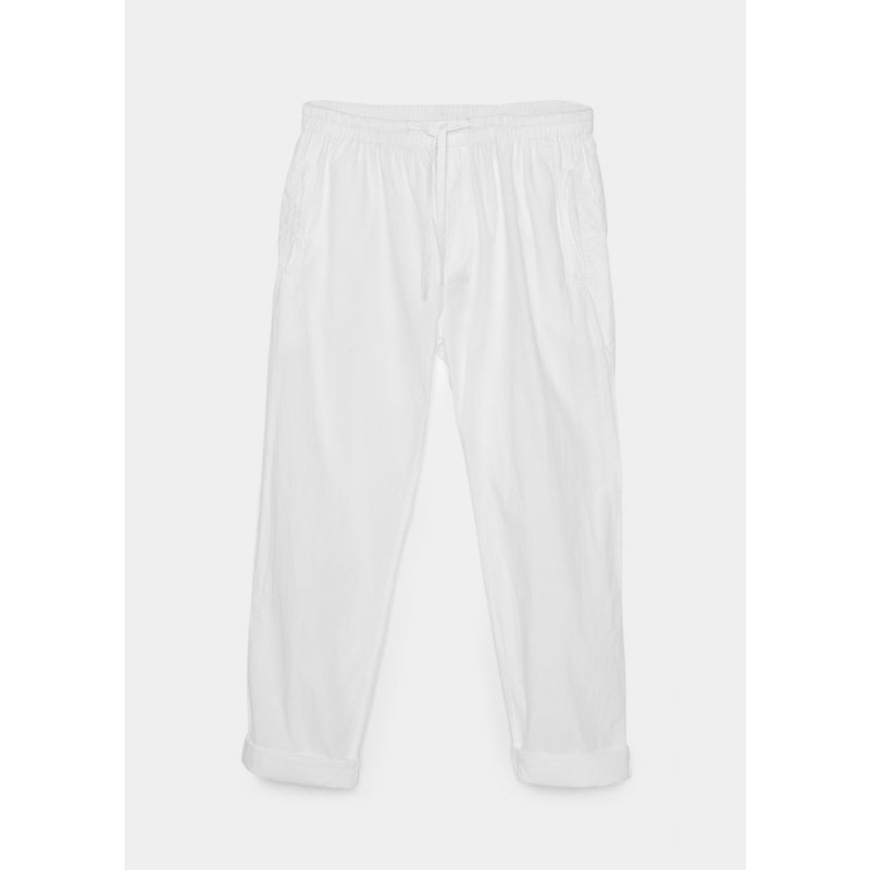 white organic cotton pants with drawstring by designer aiayu