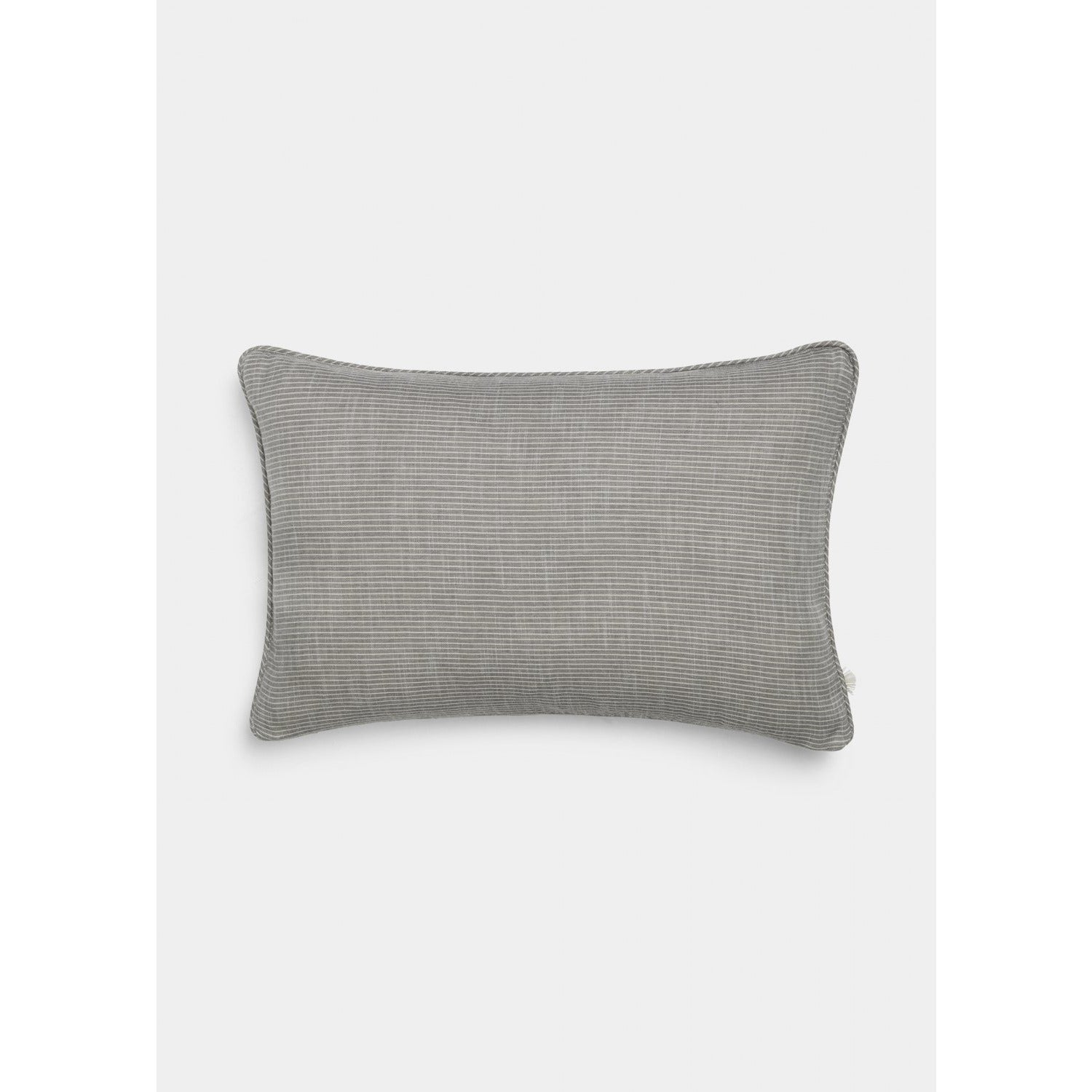 Dark Gray Cotton Poplin Striped Pillow