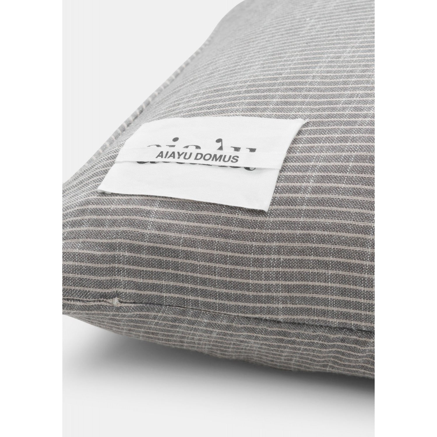 Dim Gray Cotton Poplin Striped Pillow