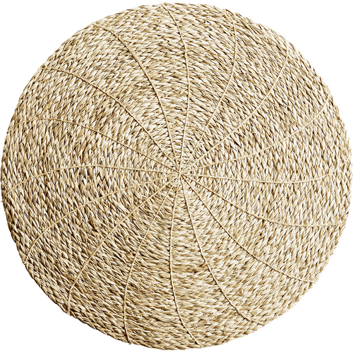 circular woven straw placemat in natural color by designer tine k