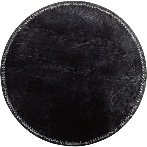 circular leather placemat in black color by designer tine k