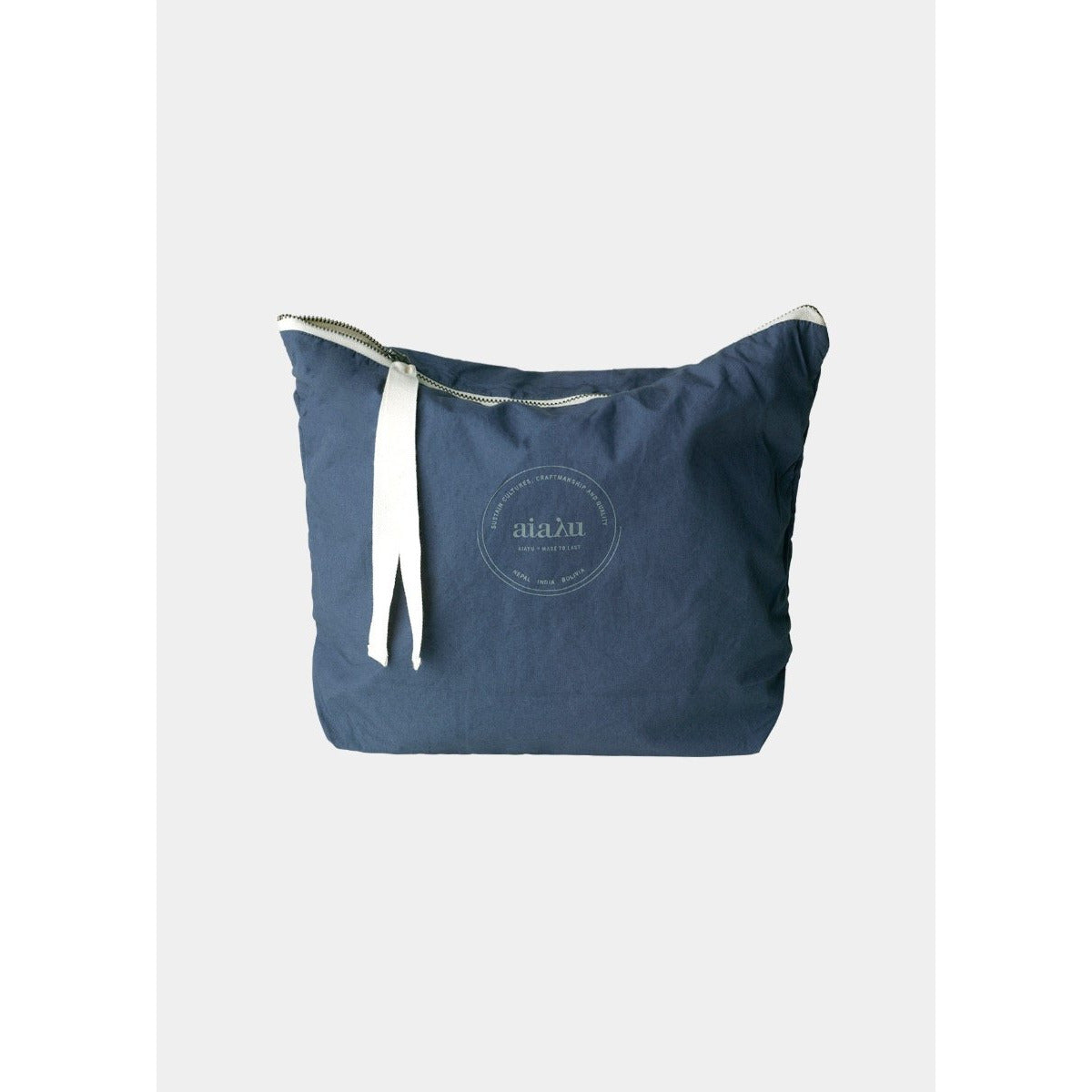 navy organic cotton pouch with white ribbon zip closure by designer aiayu