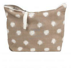 organic cotton pouch in light brown with white ikat pattern details and a ribbon zipper by designer aiayu