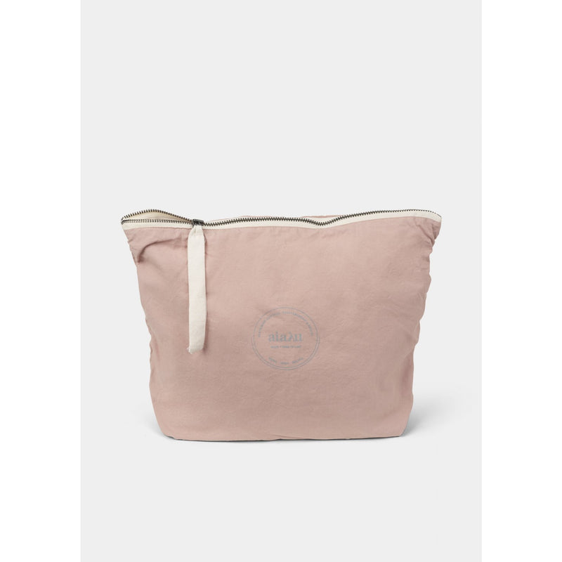 blush organic cotton pouch with white ribbon zip closure by designer aiayu