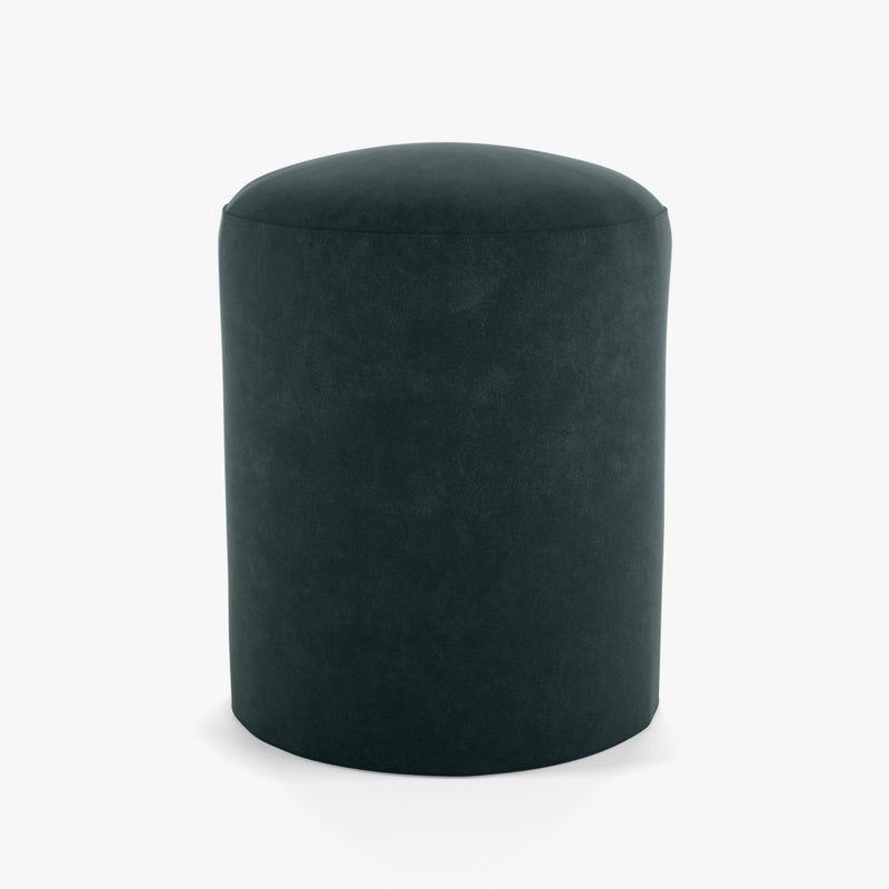 dark blue-green colored velvet cylindrical pouf or footrest by designer tine k