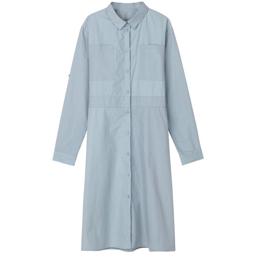 light blue organic cotton button up shirt dress with a feminine silhouette by designer aiayu