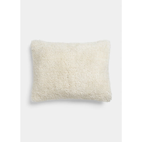 small rectangular cashmere pillow in white color by designer aiayu