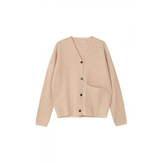 light pink knit cardigan with horn buttons up the front and single front pocket  by designer aiayu