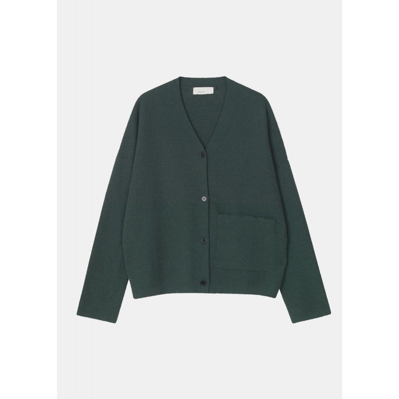 dark green knit cardigan with horn buttons up the front and single front pocket  by designer aiayu