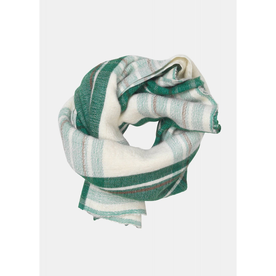 cashmere scarf in green, white, a faded red plaid pattern by designer aiayu