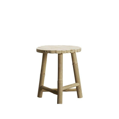 rounded bamboo stool with three legs