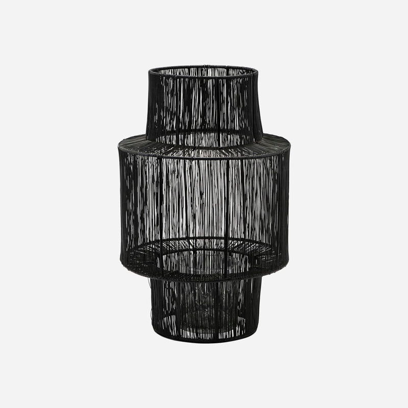 short dark steel lantern with wide middle by house doctor