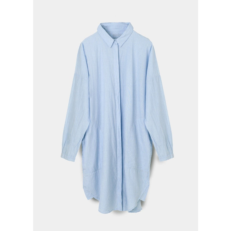 long sleeve button up shirt dress in blue by designer aiayu