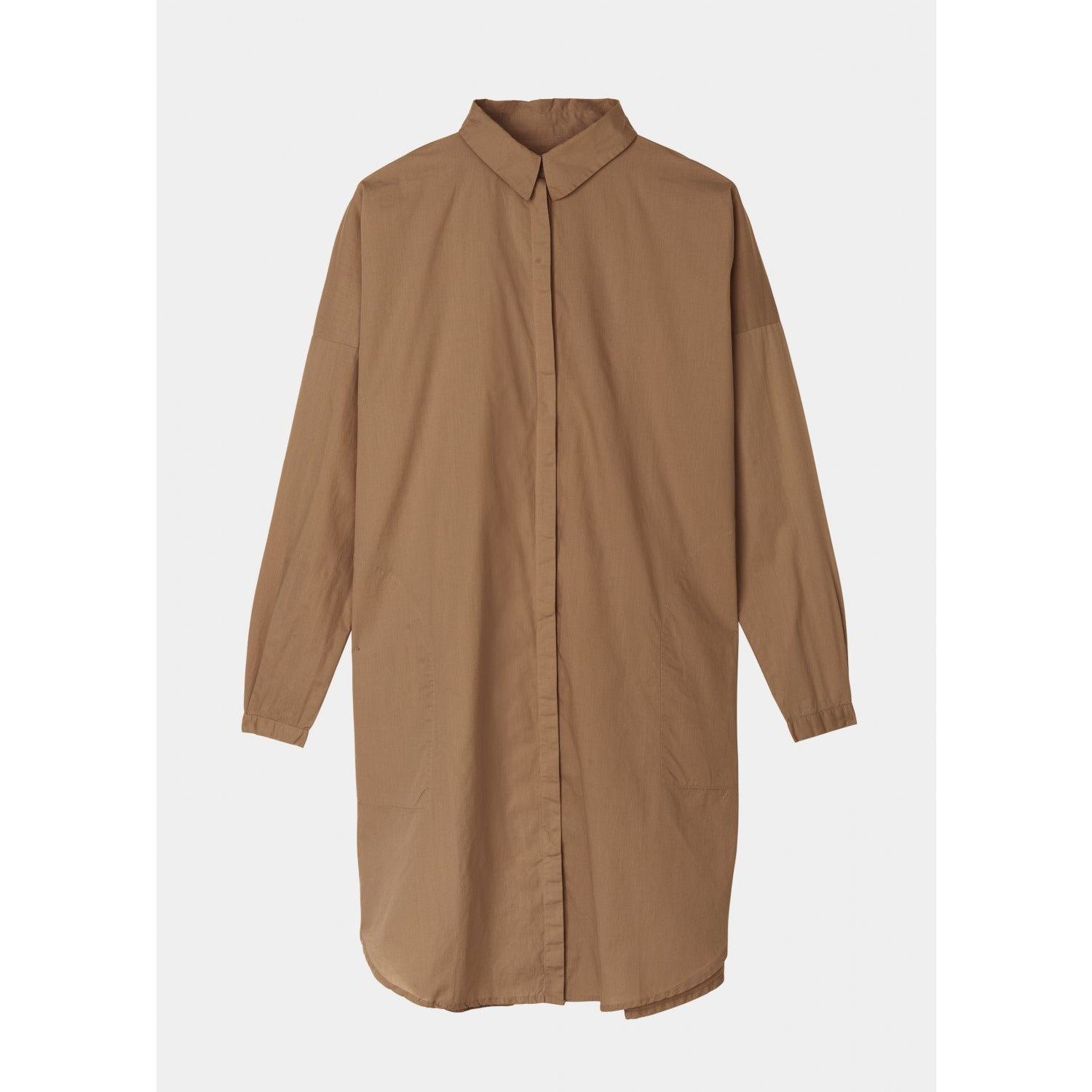 long sleeve button up shirt dress in tan by designer aiayu
