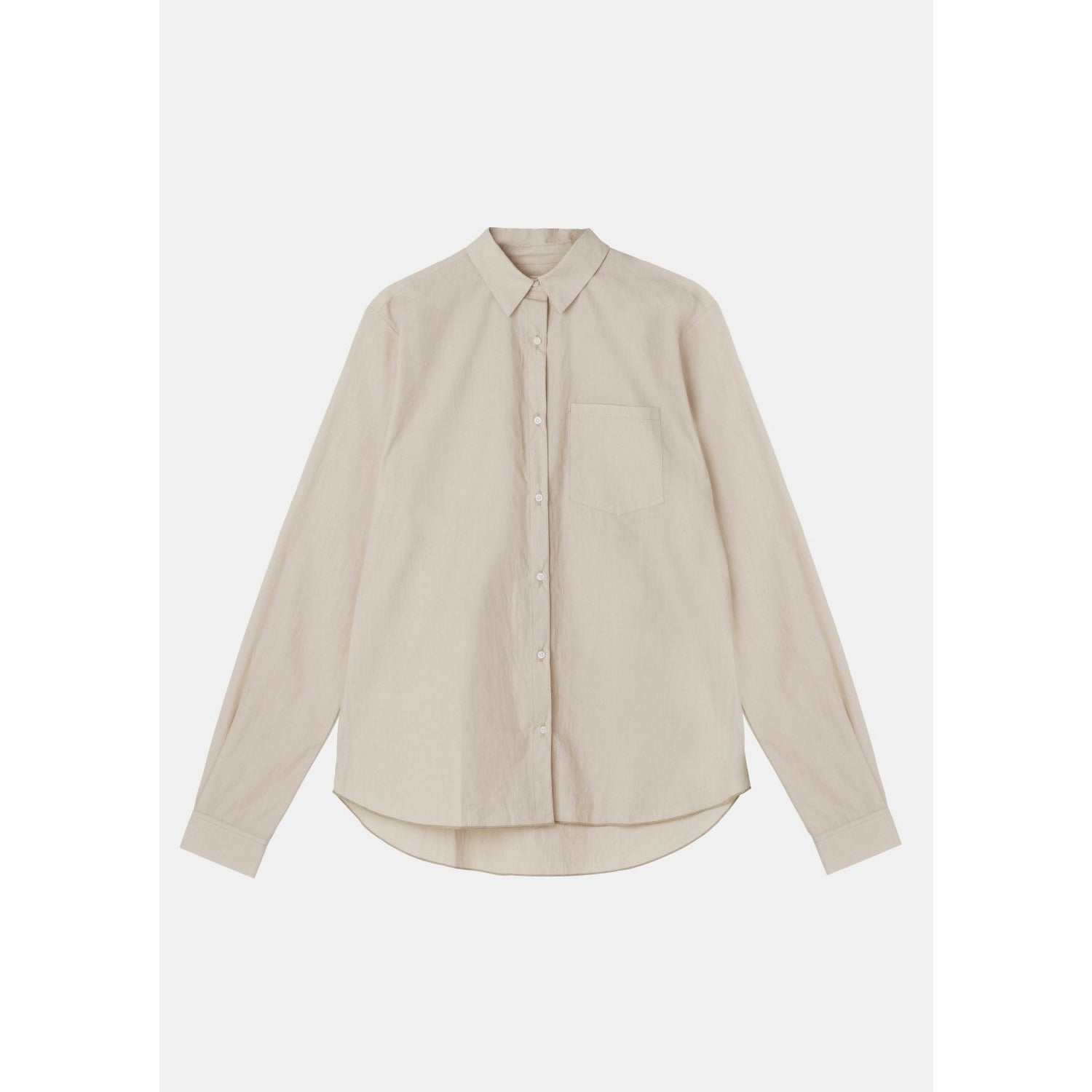 beige colored organic cotton long sleeve button down by designer aiayu