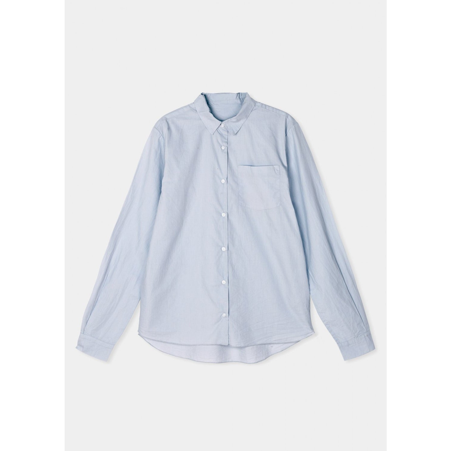 light blue colored organic cotton long sleeve button down by designer aiayu