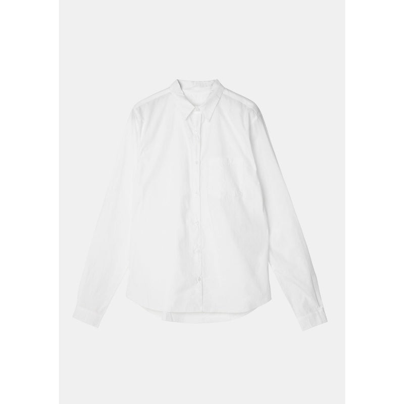white colored organic cotton long sleeve button down by designer aiayu