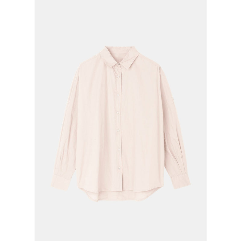 organic cotton button up in light pink by designer aiayu