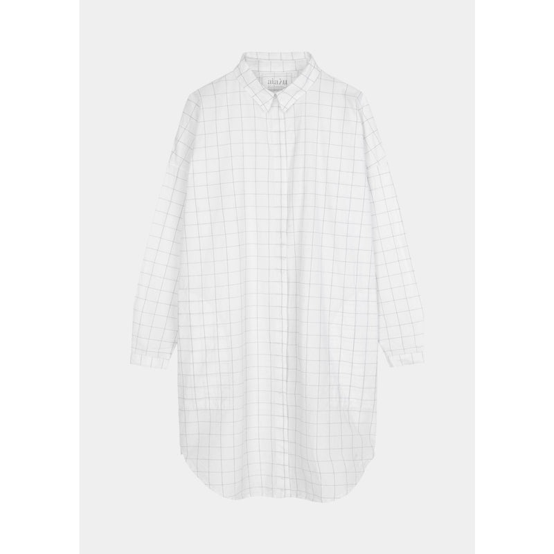 black and white checked button down shirt dress by designer aiayu