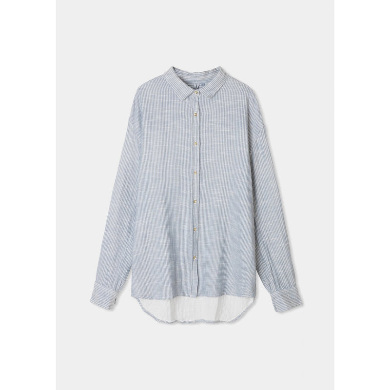blue organic cotton button up with thin white stripes and gold button details by designer aiayu