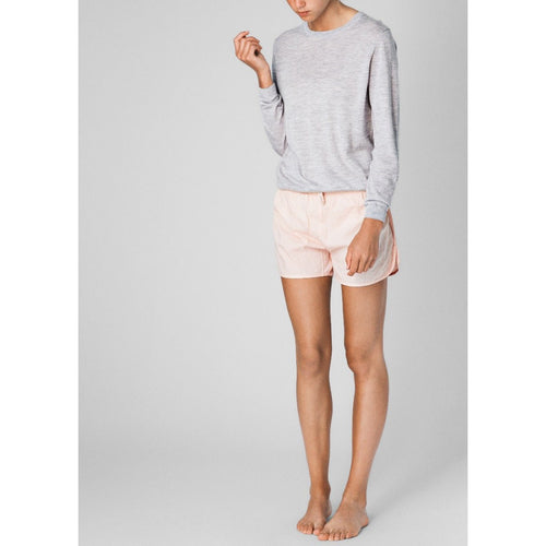 light pink organic cotton shorts with a light grey top
