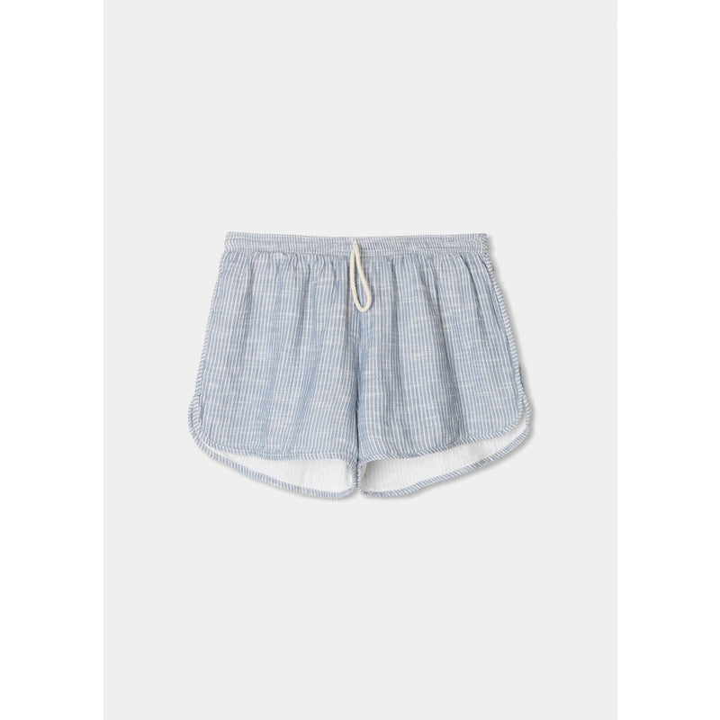 blue and white pinstriped organic cotton shorts with drawstring waistband by designer aiayu