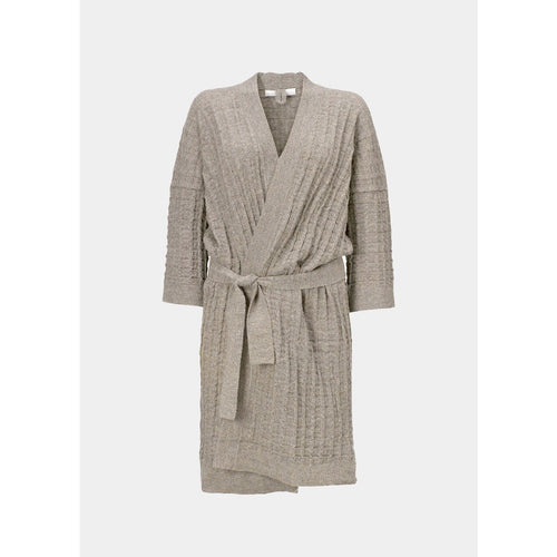 light beige llama wool knitted bathrobe with belt by designer aiayu