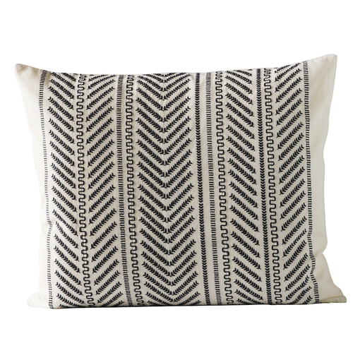 arrow striped pattern pillow in black and cream color by designer tine k