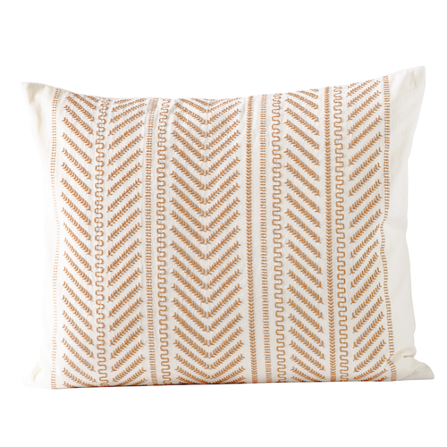 arrow striped pattern pillow in honey and cream color by designer tine k