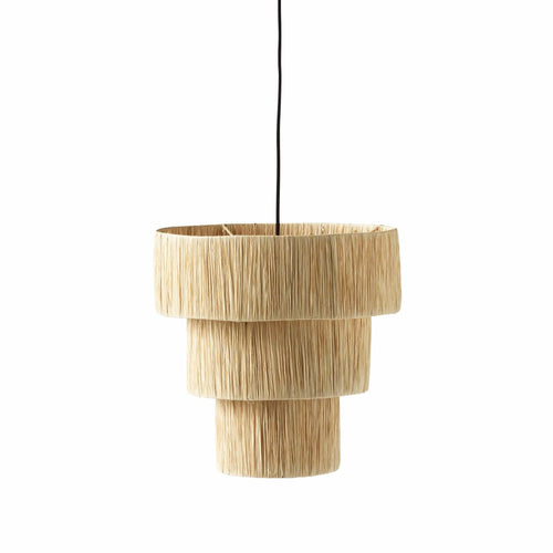 three tiered woven straw lampshade by designer tine k