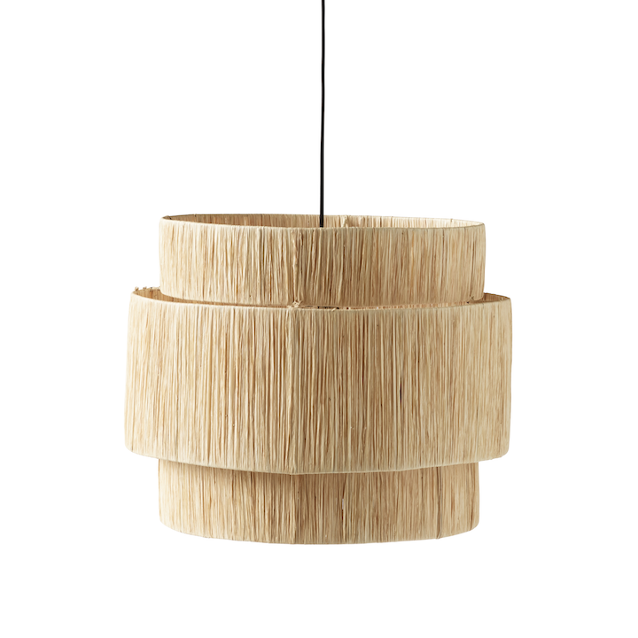 woven straw lampshade by designer tine k