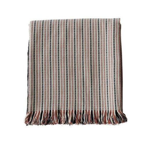 cotton throw with rust and black stripes by designer tine k