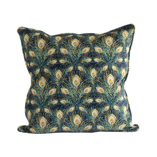 square velvet pillow with peacock feather pattern by designer tine k