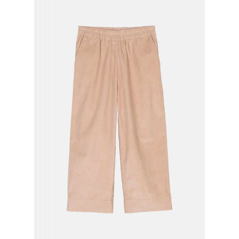 pink corduroy pants with elastic band by designer aiayu