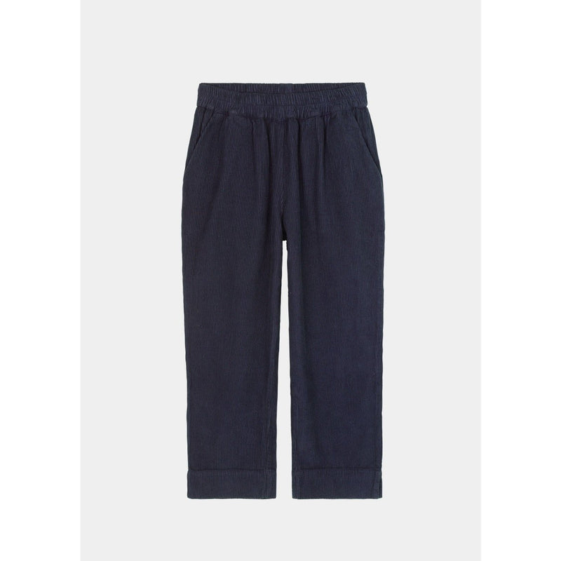 navy corduroy pants with elastic band by designer aiayu