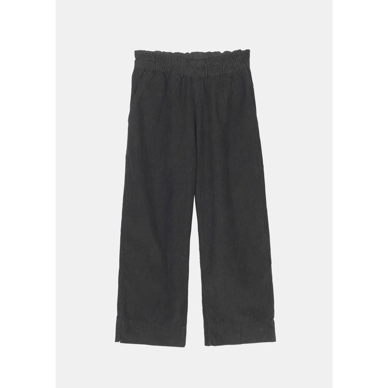 faded black corduroy pants with elastic band by designer aiayu