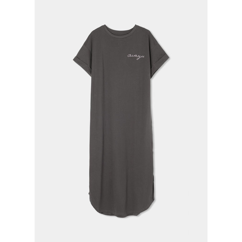 organic cotton ankle length faded black t-shirt dress with mustard colored aiauy logo stitched in the left chest
