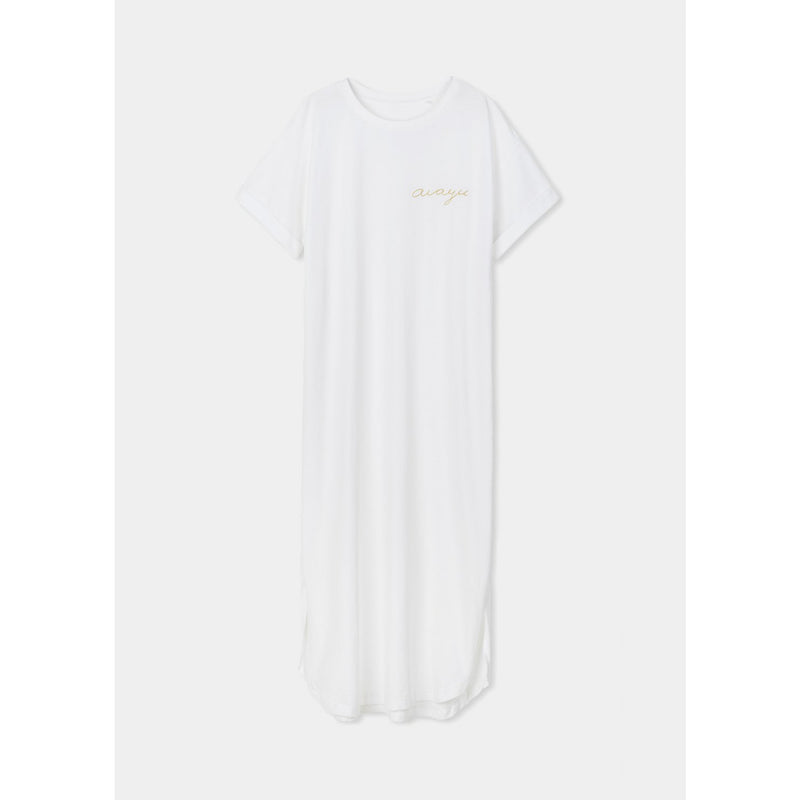 organic cotton ankle length white t-shirt dress with mustard colored aiauy logo stitched in the left chest