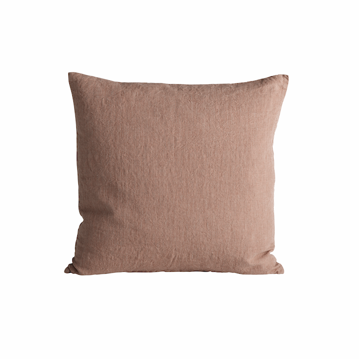 square linen pinstriped pillow in rosy color by designer tine k