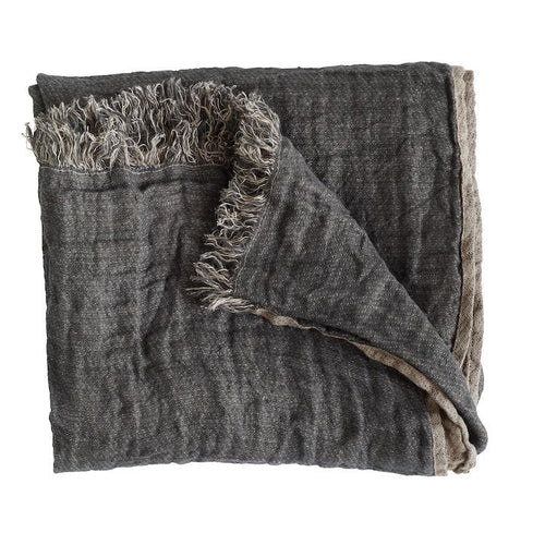 Linen throw in phantom by designer tine k