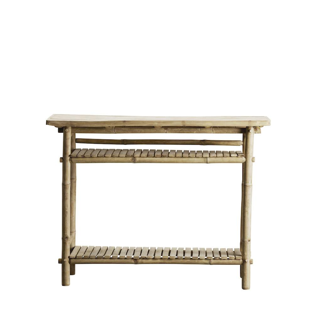 bamboo console table with two shelves
