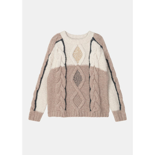 white and light tan toned sweater with dark line details and a cable knit pattern by designer aiayu