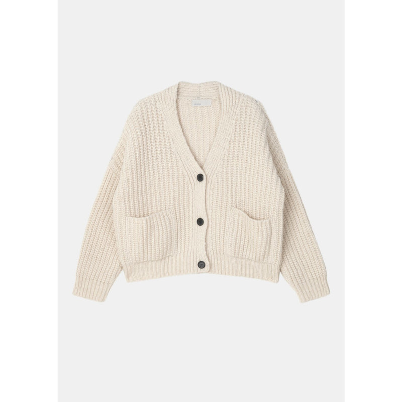 white knit cardigan with horn buttons, oversized front pockets, and a boxy cropped fit by designer aiayu
