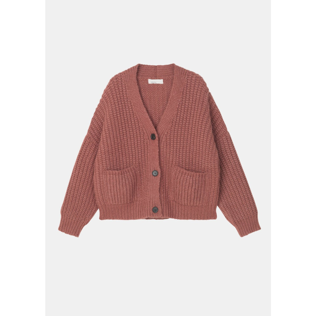 rust colored knit cardigan with horn buttons, oversized front pockets, and a boxy cropped fit by designer aiayu