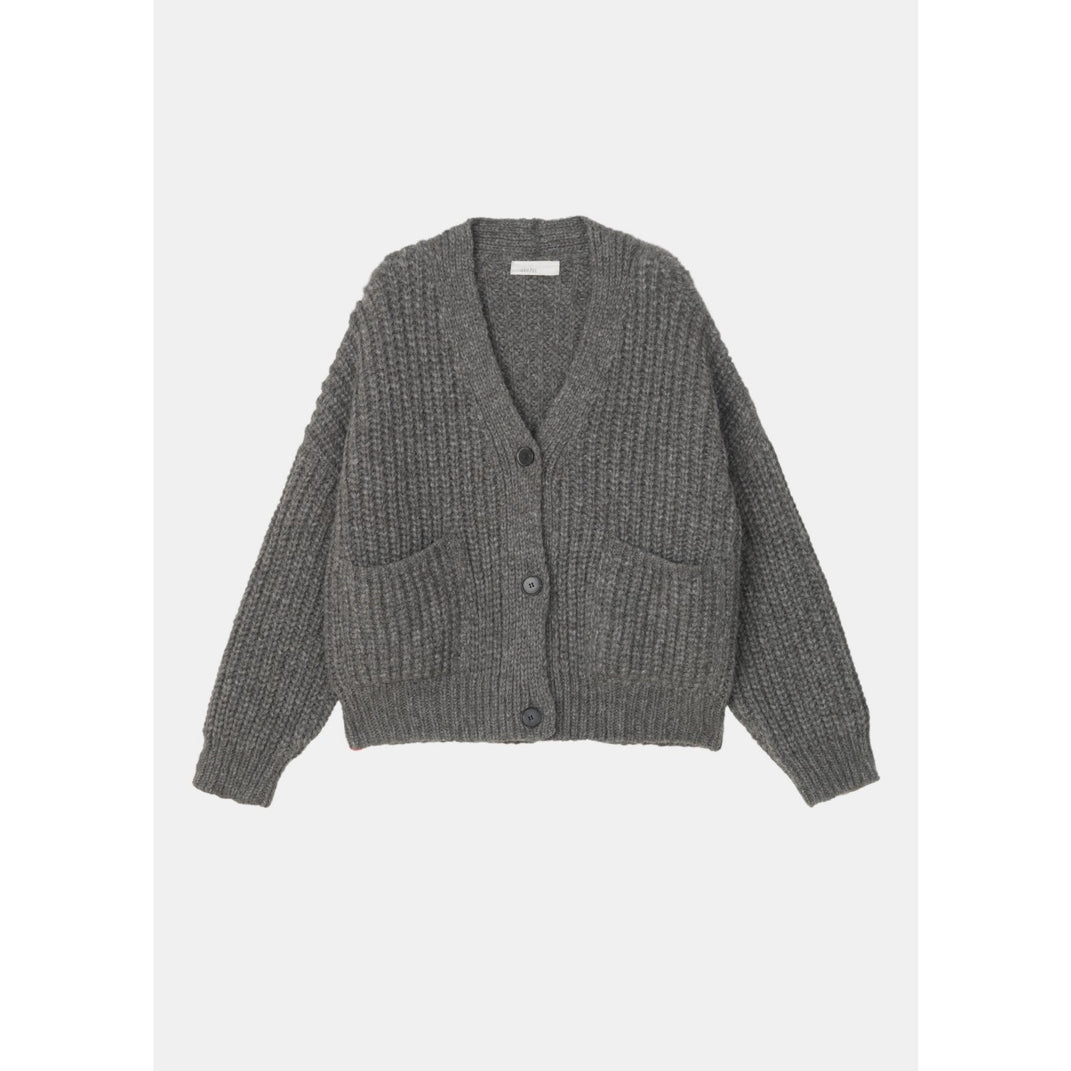 grey knit cardigan with horn buttons, oversized front pockets, and a boxy cropped fit by designer aiayu