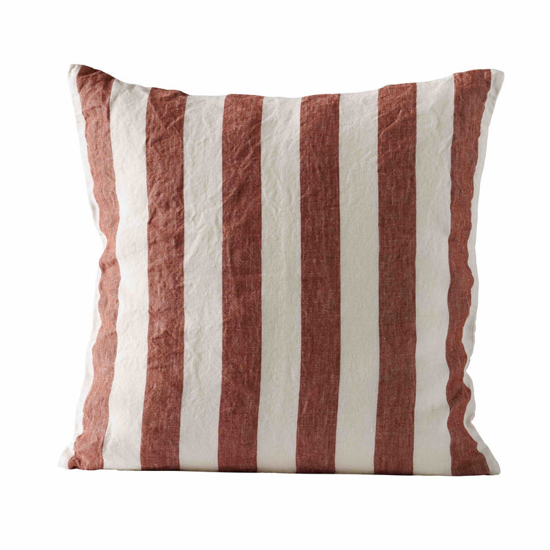 square rust and white striped linen pillow by designer tine k